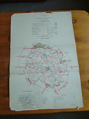 Rare - HEREFORDSHIRE Antique Ordnance Survey Map 1888. Robert Owen Jones