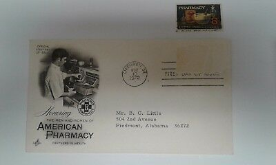 Pharmacy First Day Of Issue Stamp Us #1473 W/ Letter & Card Describing Stamp