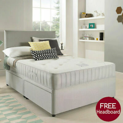 SUEDE MEMORY FOAM DIVAN BED SET WITH MATTRESS HEADBOARD SIZE 3FT 4FT6 5FT King