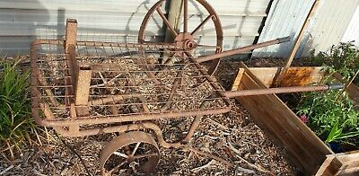 Antique Flat Bed Wheel Barrow with Cast Iron Wheel
