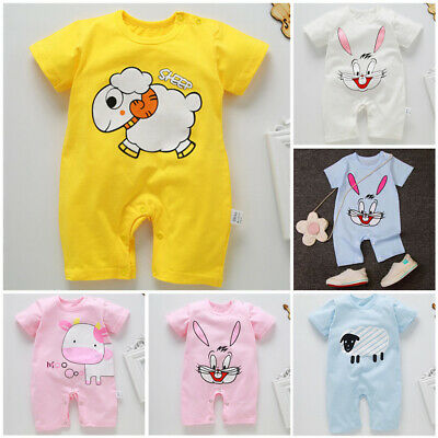 Kids Baby Infant Toddler Boys Girls Casual Short Sleeve Cartoon Jumpsuit Romper