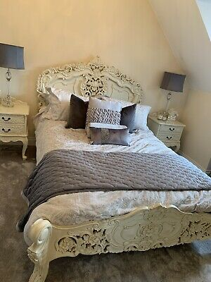 Double Shabby Chic Louis Bed X2 Matching Bed Side Drawers