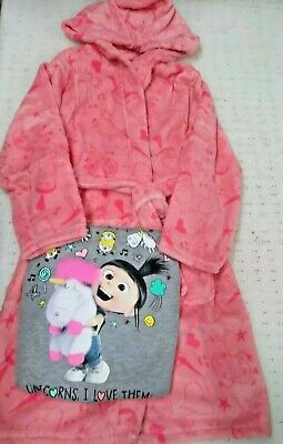 Despicable Me 3 PJ and Robe Set With Door hanger Girls Age 7-8 Years BNIP