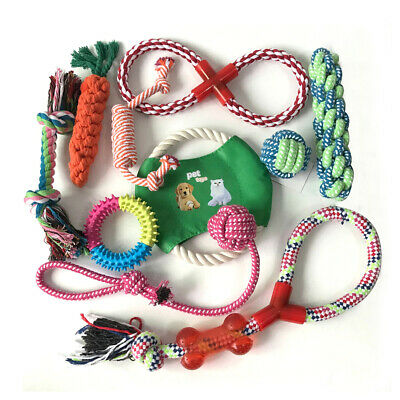 10Pcs Dog Rope Toys Tough Strong Chew Knot Teddy Pet Puppy Bear Cotton Toy X8H3M