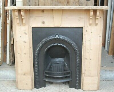 A VICTORIAN CAST IRON FIRE INSERT AND RECLAIMED PINE FIRE SURROUND Ref FC0055