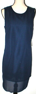 New Womens NWT $128 Sharagano Dress 12 Dark Navy Blue Sheer Sleeveless Work Play