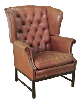 Leather Chesterfield Style Wingback Chair