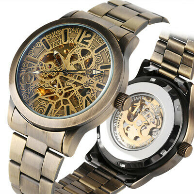 Mechanical Watch Automatic Wristwatch Hollow Skeleton Dial Stainless Steel Band