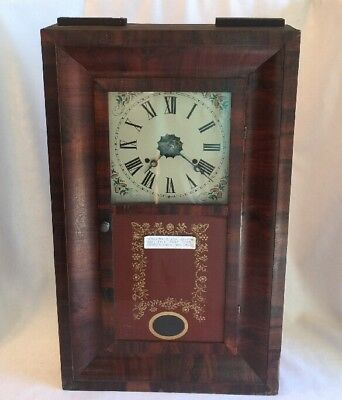Antique 1878 AMERICAN CLOCK CO Monogamy OGEE SHELF CLOCK Weighted Painted Glass