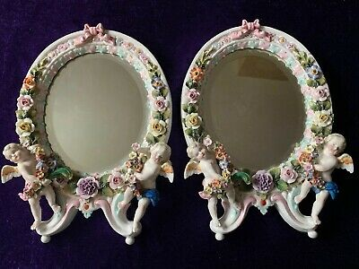 Antique Sitzendorf Dresden Beautiful Encrusted Matching Mirrors With Puttis