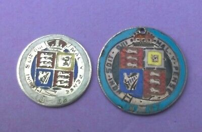 Antique Enamelled 1887 Queen Victoria Shilling & Sixpence Coins
