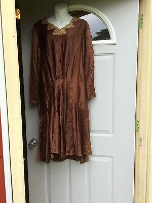 1920s Vintage Antique Silk Brown Art Deco Dress Lace Vanity Modes Large NY Paris
