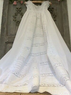 Antique French Baby Christening Gown~Exquisite/Intricate Whitework~Broderie Lace