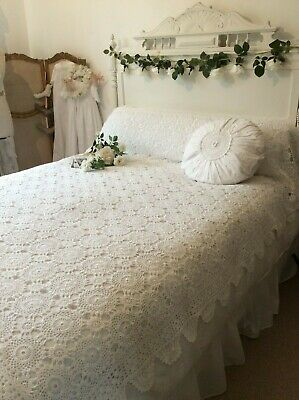 Exquisite Vintage French Textile~White Crochet Lace bed/Bolster cover~241x 170cm