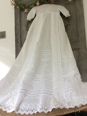 Antique French Baby Christening Gown ~Gossamer Cotton/Broderie Anglais/Fine Lace