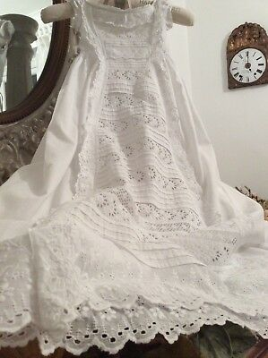 Exquisite Antique French Baby Christening Gown ~ Broderies richelieu inclusion