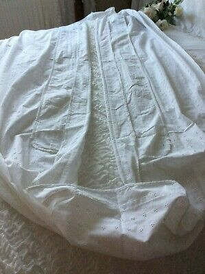 Exquisite Antique French Baby Cot/Cradle Liner~Cotton ~Stunning Broderie Anglais