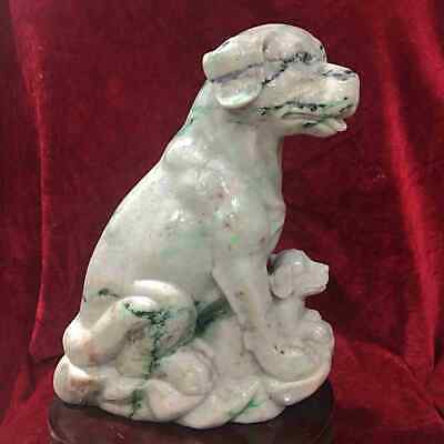 Certified Green Natural A Jade jadeite Statue Sculpture Dog 狗 & 招财狗 0162