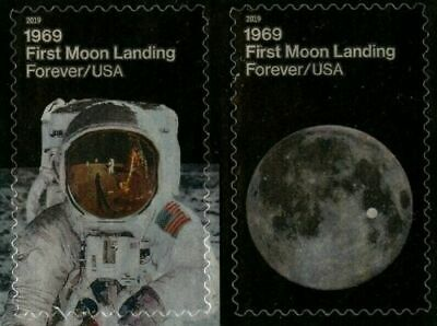 #5399- 5400a 2019 Moon Landing 50th Anniversary Pair - MNH