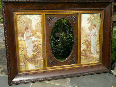"c1900 Victorian Wall Mirror in Oak Gilt Frame 37"" by 26"""