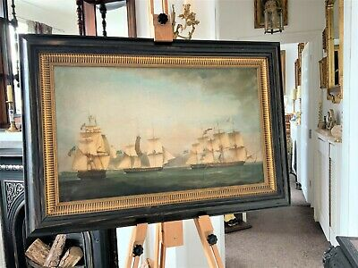 STUNNING 18th CENTURY REVIVAL BRITISH NAVAL SEASCAPE SHIPS ON BOARD PICTURE