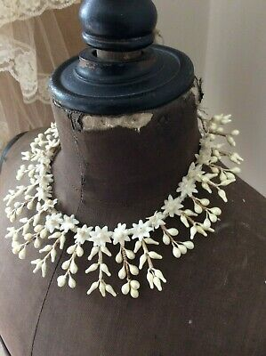 Antique French Waxed Orange Blossom Wedding Couronne~Bridal Crown~c1800