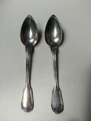 RARE Pair of Antique Christofle Silverplate Fruit Spoons, Chinon Pattern (1862)