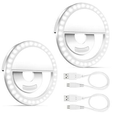Selfie Light Ring, 2 Pack Led Circle Clip On Cell Phone Laptop Camera Led LX8R9