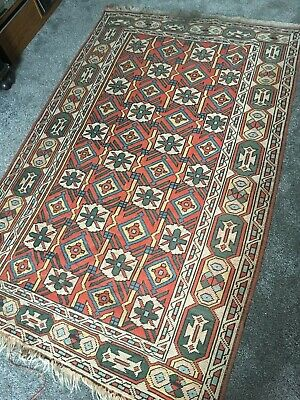 Old Original Vintage Persian English Country House Boho Hand Knotted Wool Rug