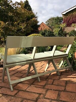 Antique Folding Church Pew/3 Seat French Green Hardwood Bench Settle~Ex/Interior