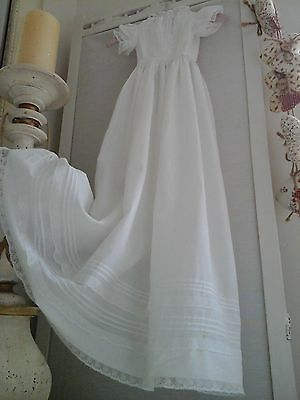 Antique French Baby Christening Gown/Robe~Hand worked Lawn Cotton /Stunning Lace