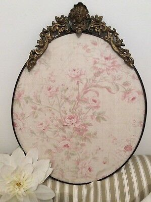 Antique French Ormolu Brass Mount~Ornate Repousse Oval Frame~Country Rose Fabric