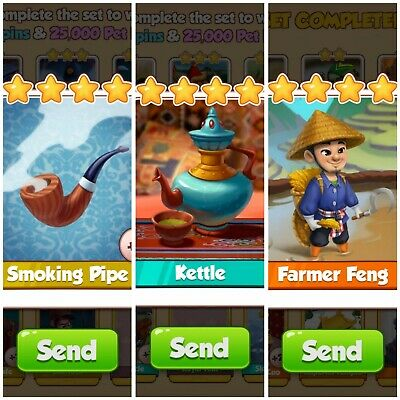 Coin Master Card's Bundle *** Smoking Pipe& Kettle & Farmer Feng***