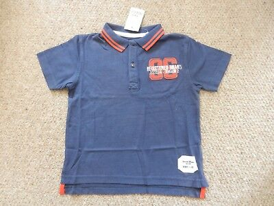 BNWT Next Boys Collared Polo Navy Blue & Red Smart T-Shirt Age 3-4 Years