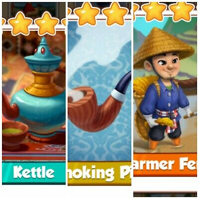 Coin Master Card's Bundle*** Smoking Pipe & Kettle & Farmer Feng ***