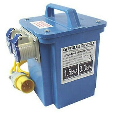 CARROLL & MEYNELL PORTABLE STEP-UP BLUE TRANSFORMER 2 x 16a SOCKETS 3KVA