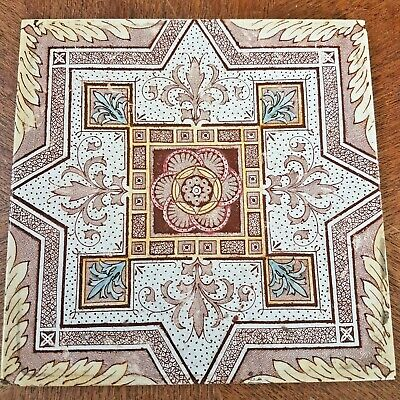 Antique Aesthetic Movement Brown and Blue Ornamental Tile