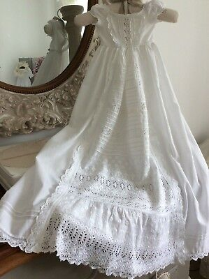Antique French Baby Christening Gown~ Lawn Cotton/Broderie Anglais Lace~Heirloom