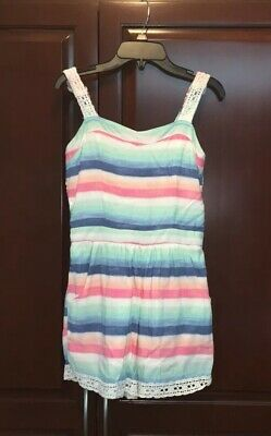 Girls Abercrombie Kids - Blue, Pink & White Striped Romper Shorts - Size 13/14