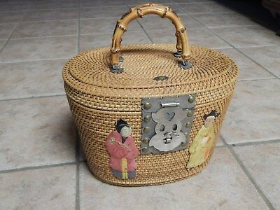 Vtg  Chinese  Tea Oval Basket With Chinese Figures, Fish Closure