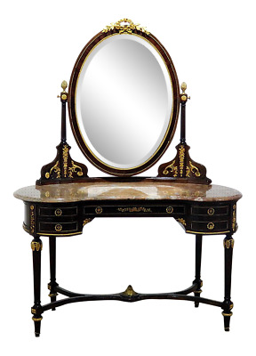 Best French Louis XV Bronzed Francois Linke Style Marble Top Vanity with Mirror