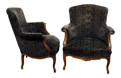Beautiful Pair Carved Walnut French Louis XV Large Bergere Club Lounge Chairs