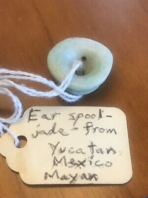 Pre-Columbian Green Jade Ear Spool, Authentic, Mayan, Yucatán Mexico, Olmec