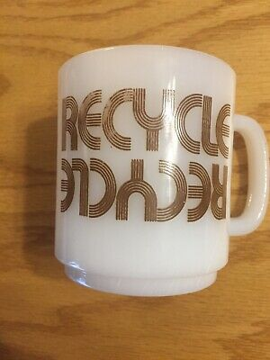 Vintage Milk Glass RECYCLE RECYCLE Coffee Mug
