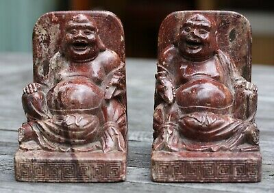 Pr of Antique Chinese carved stone laughing Buddha bookends, early 20th Century