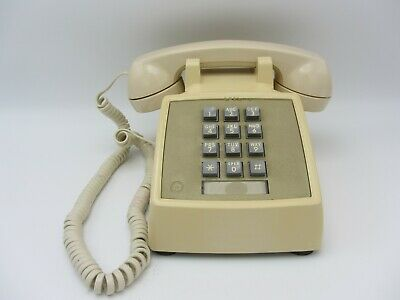 Touch Tone Desk Table Telephone Phone Cream White Retro Western Electric Bell