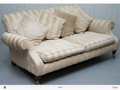 Derwent / Parker Knoll Striped Upholstery 2 - 3 Seater Club Sofa