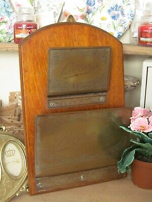 Edwardian letters and papers Oak and Brass hanging wall rack