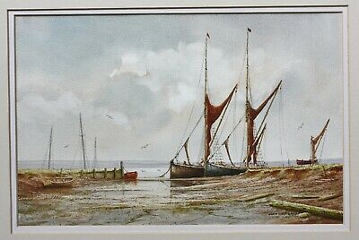 Alan Whitehead (b.1952) signed watercolour painting of sailing barges #2