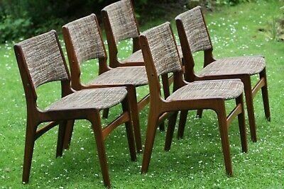 Superb Set of 5 Vintage Mid Century Danish Afromosia Dining Chairs by Erik Buch